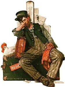 """""""Asleep on the Job"""", August 29,1925 by Norman Rockwell"""