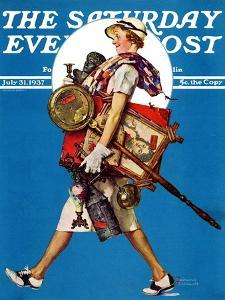 """""""At the Auction"""" or """"Found Treasure"""" Saturday Evening Post Cover, July 31,1937 by Norman Rockwell"""