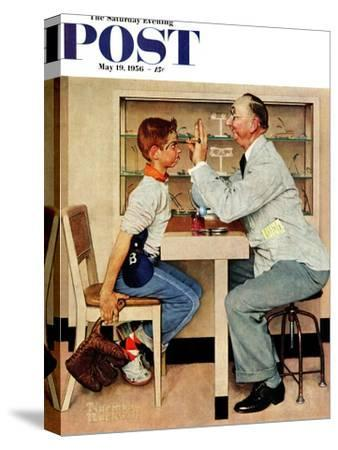 """At the Optometrist"" or ""Eye Doctor"" Saturday Evening Post Cover, May 19,1956"