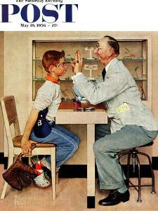 """""""At the Optometrist"""" or """"Eye Doctor"""" Saturday Evening Post Cover, May 19,1956 by Norman Rockwell"""