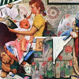"""Baby Sitter"", November 8,1947 by Norman Rockwell"