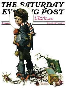 """""""Back to School"""" or """"Vacation's End"""" Saturday Evening Post Cover, January 8,1927 by Norman Rockwell"""