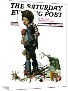 """Back to School"" or ""Vacation's End"" Saturday Evening Post Cover, January 8,1927 by Norman Rockwell"