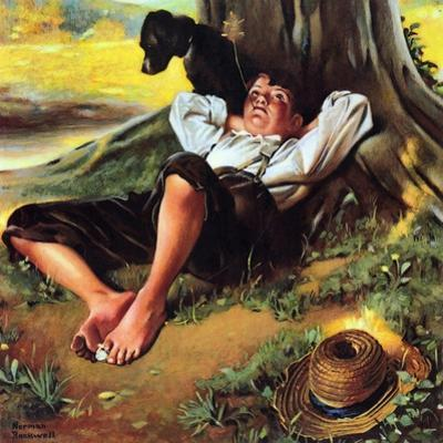 Barefoot Boy Daydreaming by Norman Rockwell