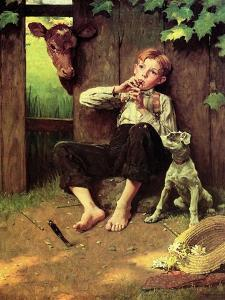 Barefoot Boy Playing Flute by Norman Rockwell