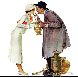 """Bargaining with Antique Dealer"", May 19,1934 by Norman Rockwell"