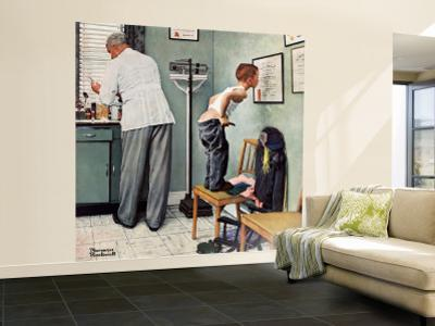 """""""Before the Shot"""" or """"At the Doctor's"""" Saturday Evening Post Cover, March 15,1958 by Norman Rockwell"""