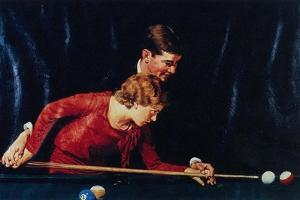 Billiards Is Easy to Learn (or Couple Playing Billiards) by Norman Rockwell
