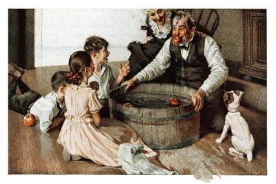 Bobbing for Apples (or Grandfather Bobbing for Apples with his Grandkids) by Norman Rockwell