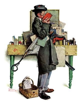 """""""Bookworm"""", August 14,1926 by Norman Rockwell"""