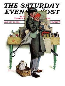 """Bookworm"" Saturday Evening Post Cover, August 14,1926 by Norman Rockwell"