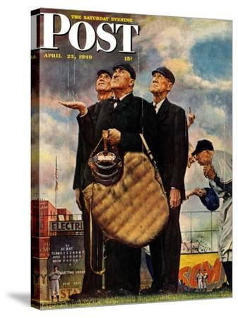 """Bottom of the Sixth""  (Three Umpires) Saturday Evening Post Cover, April 23,1949 by Norman Rockwell"
