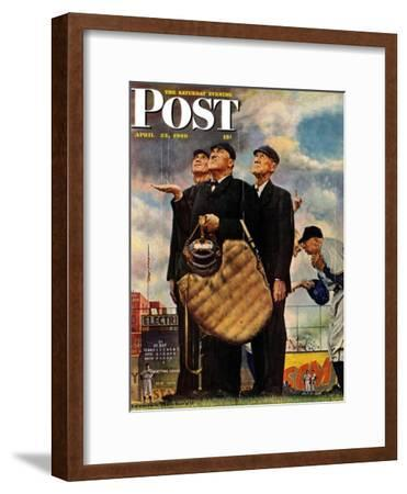 """Bottom of the Sixth""  (Three Umpires) Saturday Evening Post Cover, April 23,1949"