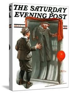 """""""Boy in Mirror"""" or """"Distortion"""" Saturday Evening Post Cover, August 13,1921 by Norman Rockwell"""