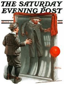 """Boy in Mirror"" or ""Distortion"" Saturday Evening Post Cover, August 13,1921 by Norman Rockwell"