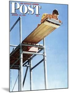 """Boy on High Dive"" Saturday Evening Post Cover, August 16,1947 by Norman Rockwell"