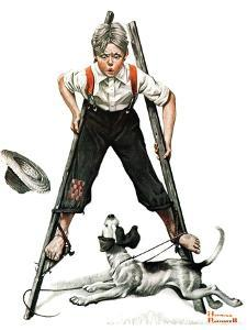 """""""Boy on Stilts"""", October 4,1919 by Norman Rockwell"""