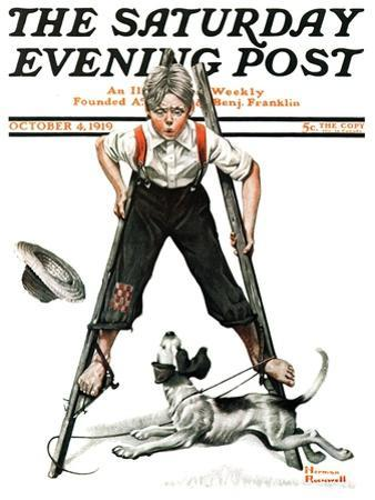 """""""Boy on Stilts"""" Saturday Evening Post Cover, October 4,1919 by Norman Rockwell"""