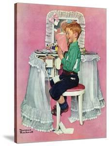 """Boy Reading his Sister's Diary"", March 21,1942 by Norman Rockwell"