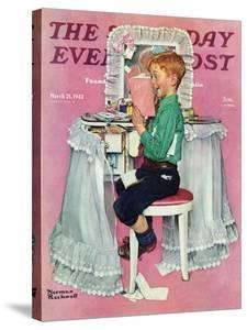 """""""Boy Reading his Sister's Diary"""" Saturday Evening Post Cover, March 21,1942 by Norman Rockwell"""