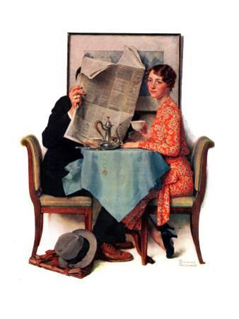 """Breakfast Table"" or ""Behind the Newspaper"", August 23,1930 by Norman Rockwell"
