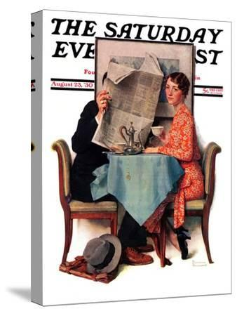 """""""Breakfast Table"""" or """"Behind the Newspaper"""" Saturday Evening Post Cover, August 23,1930"""