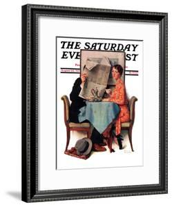 """""""Breakfast Table"""" or """"Behind the Newspaper"""" Saturday Evening Post Cover, August 23,1930 by Norman Rockwell"""