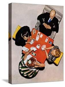 """Bridge Game"" or ""Playing Cards"", May 15,1948 by Norman Rockwell"