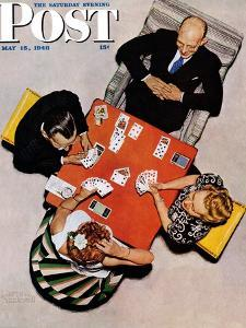 """Bridge Game"" or ""Playing Cards"" Saturday Evening Post Cover, May 15,1948 by Norman Rockwell"