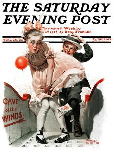 """Cave of the Winds"" Saturday Evening Post Cover, August 28,1920 by Norman Rockwell"