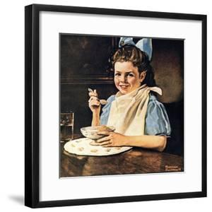 Cereal Bowl (or Girl with Blue Bow Eating Cereal) by Norman Rockwell