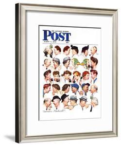 """""""Chain of Gossip"""" Saturday Evening Post Cover, March 6,1948 by Norman Rockwell"""