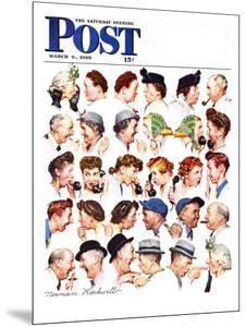 """Chain of Gossip"" Saturday Evening Post Cover, March 6,1948 by Norman Rockwell"