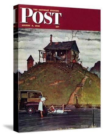 """Changing a Flat"" Saturday Evening Post Cover, August 3,1946"