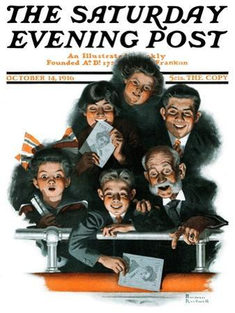 """""""Charlie Chaplin Fans"""" Saturday Evening Post Cover, October 14,1916 by Norman Rockwell"""