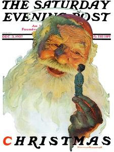 """""""Christmas, 1927"""" (King Kong Santa) Saturday Evening Post Cover, December 3,1927 by Norman Rockwell"""