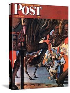 """""""Circus Artist"""" Saturday Evening Post Cover, May 3,1947 by Norman Rockwell"""
