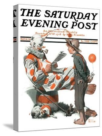 """""""Circus"""" or """"Meeting the Clown"""" Saturday Evening Post Cover, May 18,1918"""
