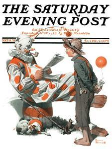 """""""Circus"""" or """"Meeting the Clown"""" Saturday Evening Post Cover, May 18,1918 by Norman Rockwell"""