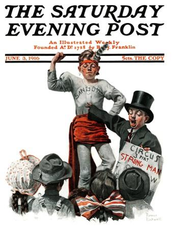 """Circus Strongman"" Saturday Evening Post Cover, June 3,1916 by Norman Rockwell"