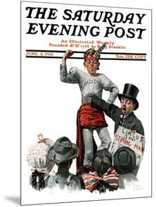 """""""Circus Strongman"""" Saturday Evening Post Cover, June 3,1916 by Norman Rockwell"""