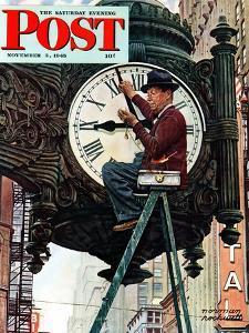 """Clock Repairman"" Saturday Evening Post Cover, November 3,1945 by Norman Rockwell"