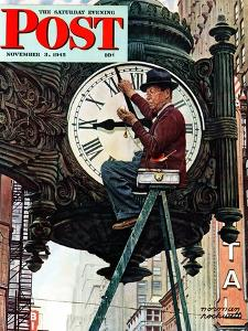 """Clock Repairman"" Saturday Evening Post Cover, November 3,1945 by Norman Rockwell"