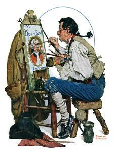 """""""Colonial Sign Painter"""", February 6,1926 by Norman Rockwell"""