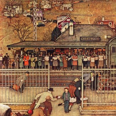 """""""Commuters"""" (waiting at Crestwood train station), November 16,1946 by Norman Rockwell"""