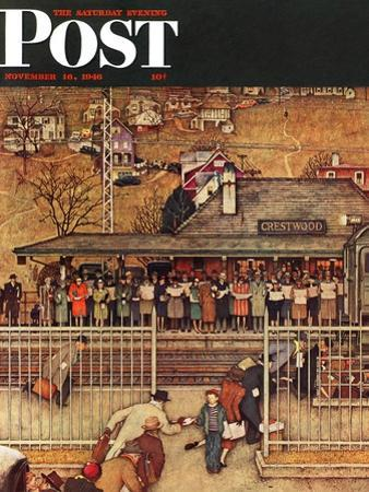 """""""Commuters"""" (waiting at Crestwood train station) Saturday Evening Post Cover, November 16,1946 by Norman Rockwell"""
