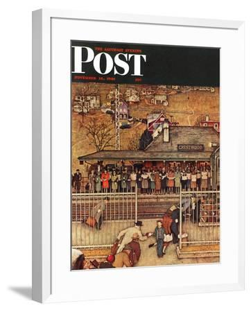 """Commuters"" (waiting at Crestwood train station) Saturday Evening Post Cover, November 16,1946 by Norman Rockwell"