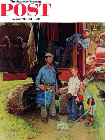 """""""Construction Crew"""" Saturday Evening Post Cover, August 21,1954"""