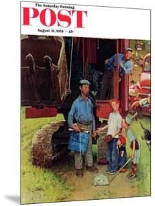 """Construction Crew"" Saturday Evening Post Cover, August 21,1954 by Norman Rockwell"
