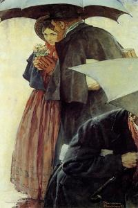 Couple in the Rain by Norman Rockwell